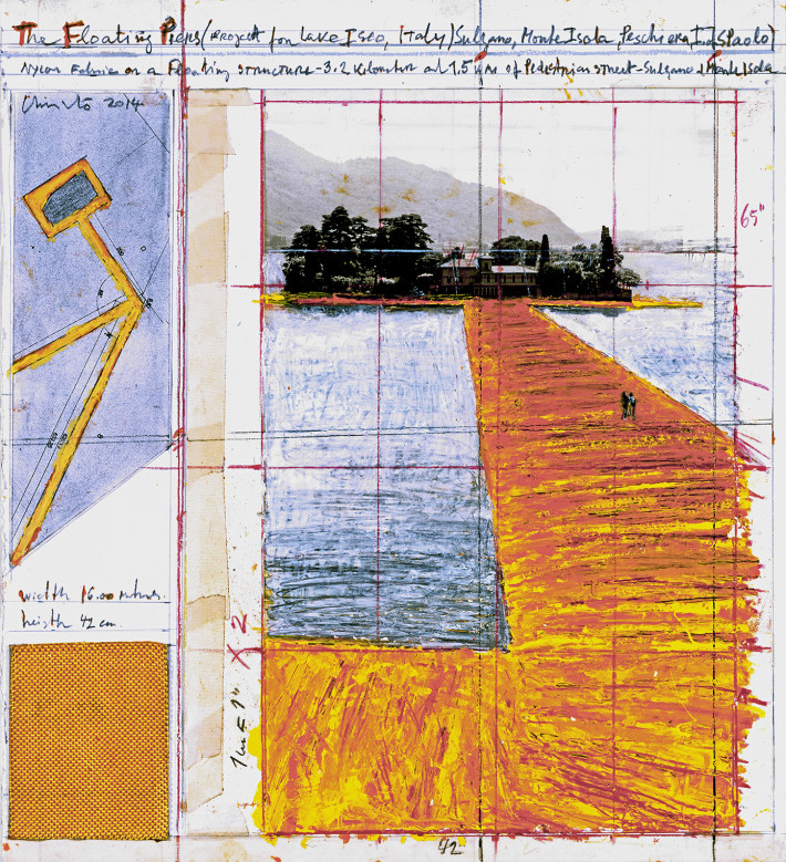 Christo, The Floating Piers, 2014. Drawing. Photo: André Grossmann.