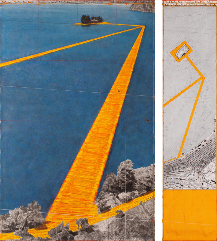 Christo, The Floating Piers, 2015. Drawing. Photo: André Grossmann.