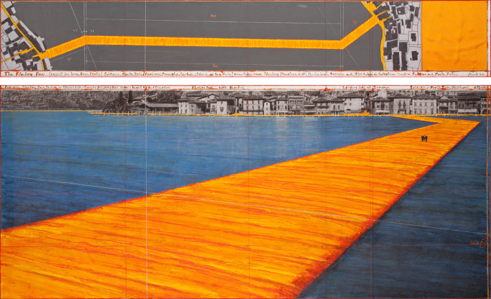 Christo, The Floating Piers, 2016. Drawing. Photo: André Grossmann.