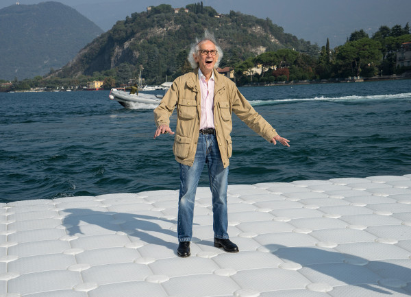 During the life-size test at montecolino, christo is obviously delighted as the piers undulate with the movement of the waves, lake iseo. October 2015.