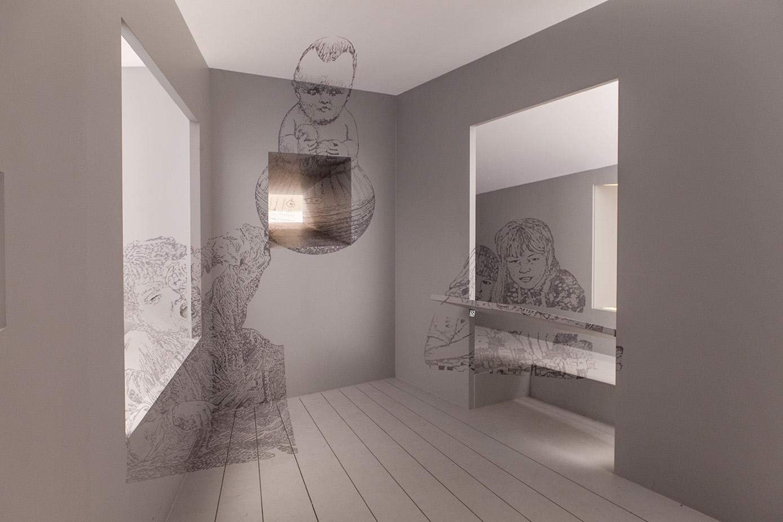 I collegamenti prospettici tra interno ed esterno nella stanza di Elisabetta Terragni.