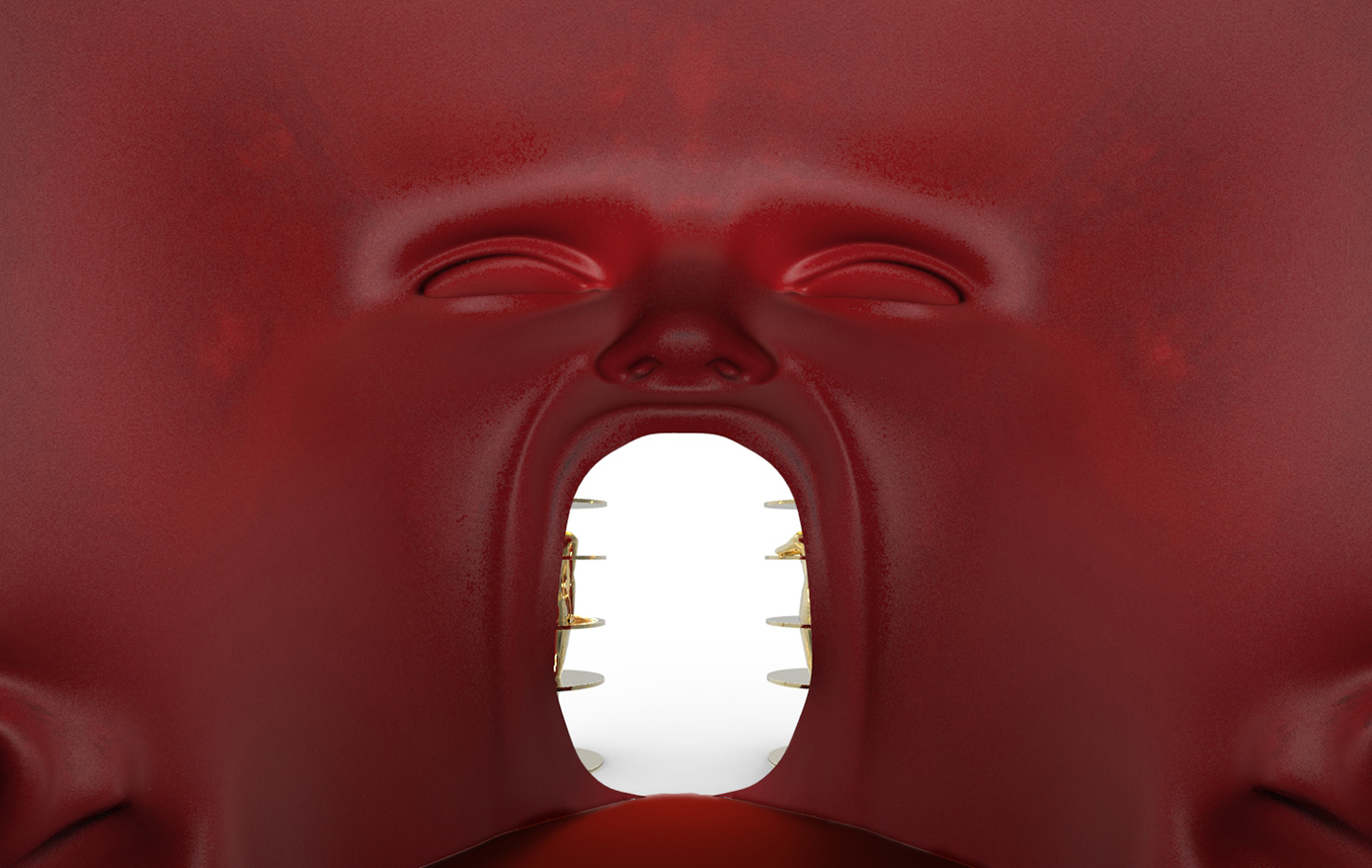 The inside of the egg-head designed by Fabio Novembre.