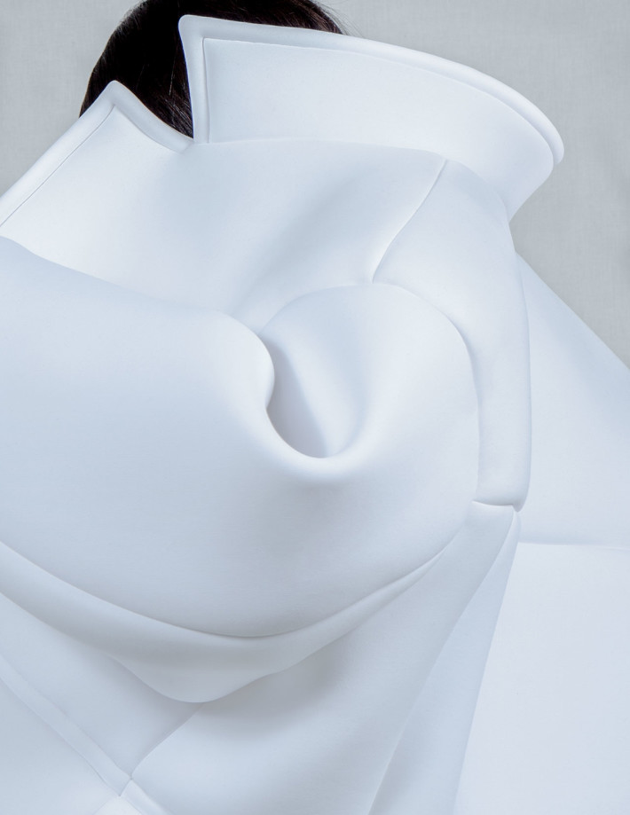 Melitta Baumeister, Jacket (detail), from Fall / Winter 2014. Ready-to-Wear collection, 2014. Neoprene. Featured in book; alternate object will appear in exhibition.