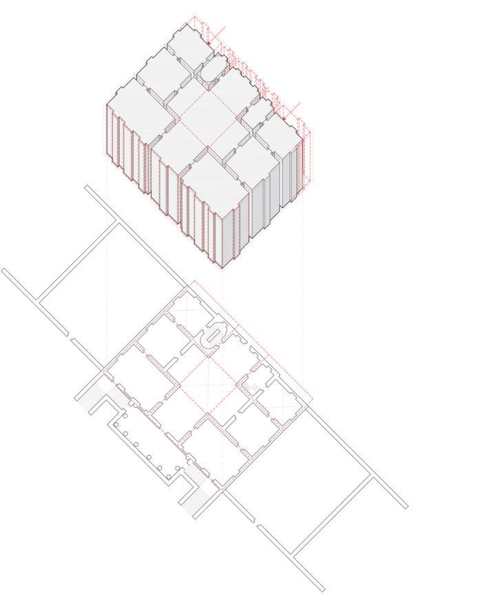 """Diagramma di Villa Foscari. La compressione del portico """"virtuale"""" retrostante nella facciata sul retro della villa è registrata nella compressione delle dimensioni cruciformi e decrescenti delle stanze laterali, dal fronte verso il retro."""