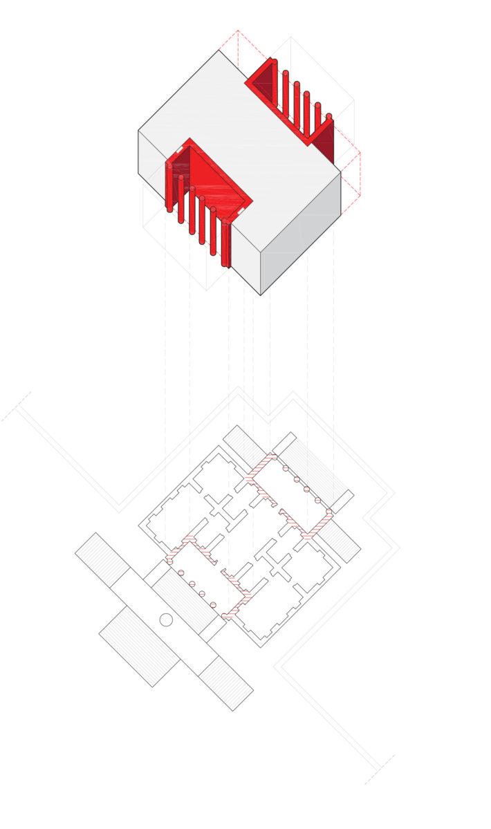 Diagramma di Villa Badoer. Sul fronte della villa, dove il portico è incassato nel volume dell'edificio principale, l'incasso è interrotto da nicchie. Sul retro del corpo della villa, dove il portico sborda dal perimetro, l'incasso è invece continuo sui lati.