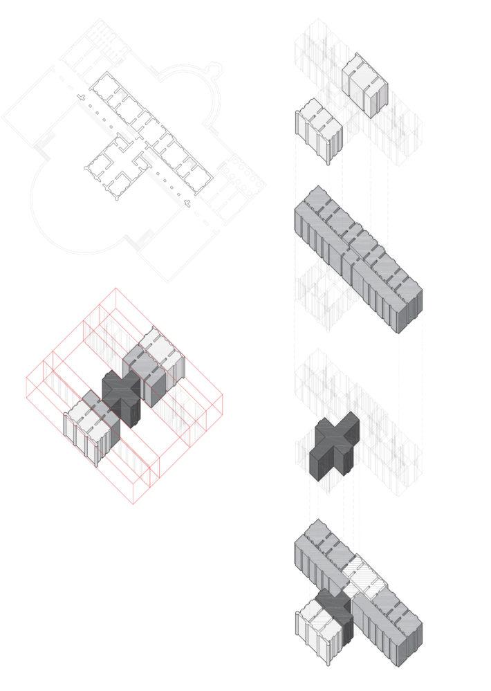 Diagrammi ideali e virtuali di Villa Barbaro a Maser. Un'inusuale sequenza A, A/C, C, B/C, A/B dove c'è un raddoppio degli spazi B adiacenti fra loro nel retro, causato dall'incastro fra le mura del giardino e il corpo della villa.