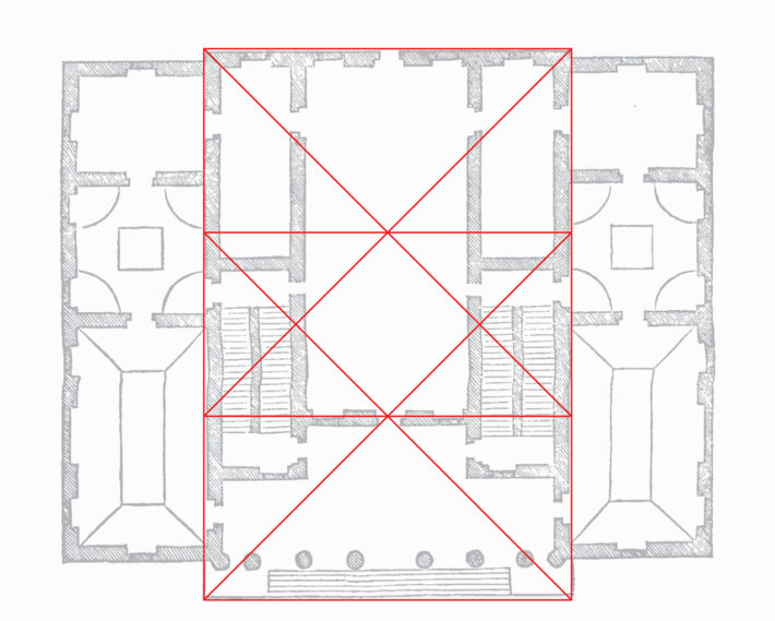 Diagramma geometrico della pianta di Villa Sarego: il rettangolo rosso è allineato con il bordo del portico esterno, ma con niente sul retro.