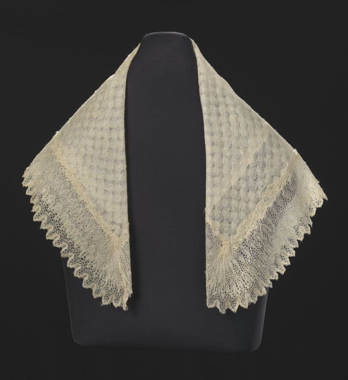 Created by Unidentified. Owned by Harriet Tubman. Silk lace and linen shawl given to Harriet Tubman by Queen Victoria, ca. 1897. Collection of the Smithsonian National Museum of African American History and Culture, Gift of Charles L. Blockson.