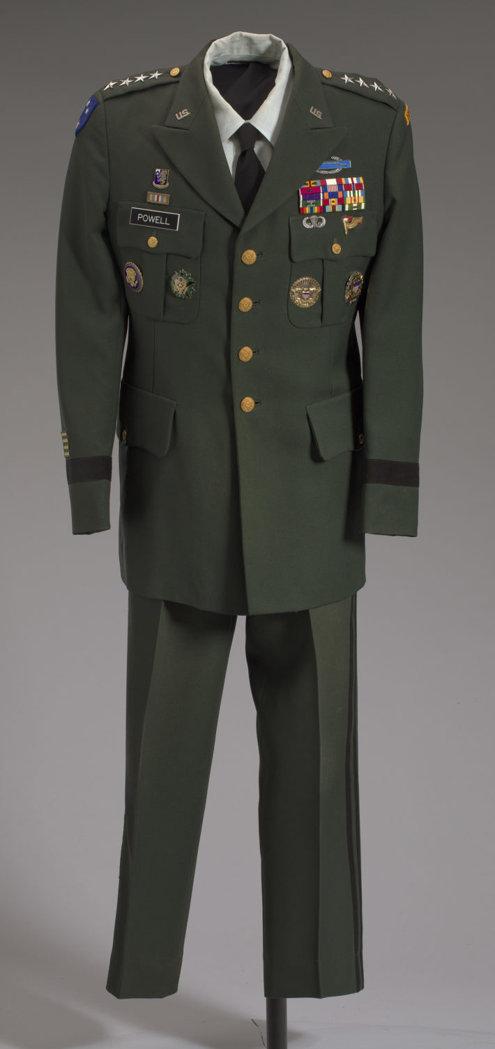 Manufactured by Weintraub Brothers Company, Inc. Manufactured by Martin Manufacturing Company. Worn by General Colin L. Powell. Subject of: United States Army. US Army green service uniform worn by Colin L. Powell, 1989-1993. Collection of the Smithsonian National Museum of African American History and Culture, Gift of General Colin L. Powell, USA (Ret).