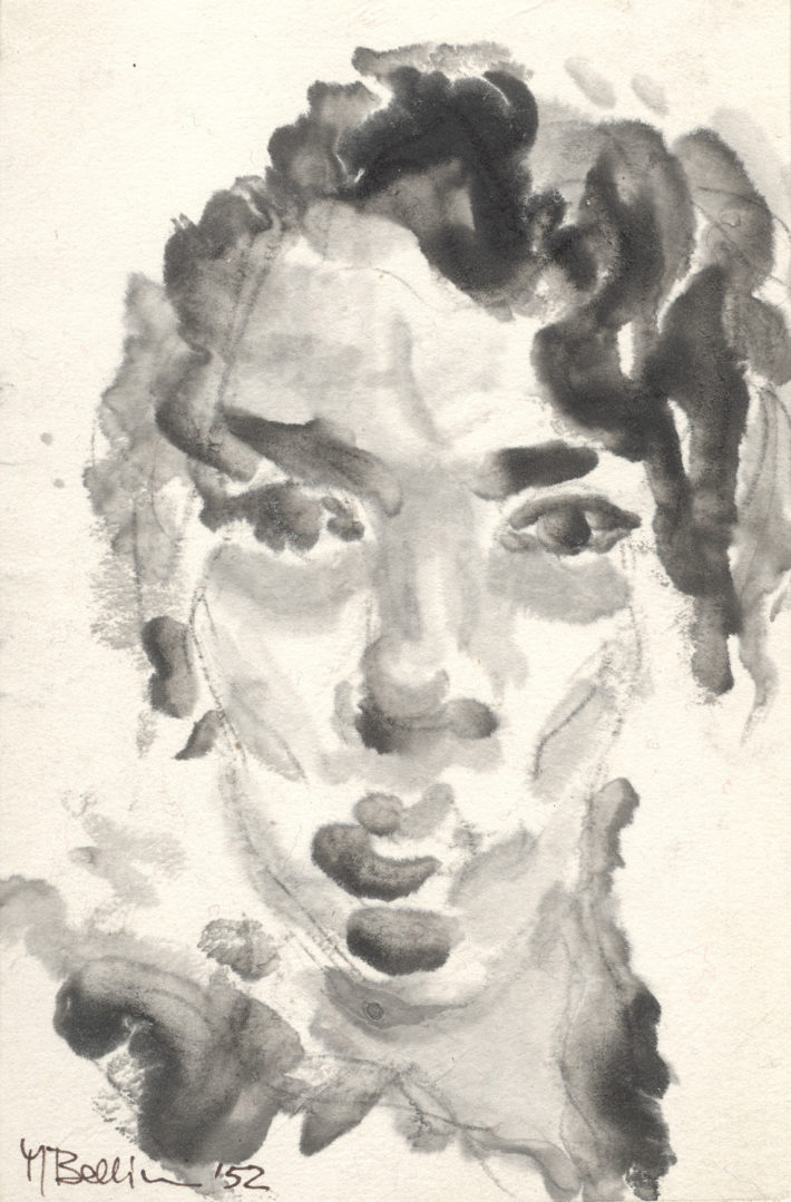 Mario Bellini, autoritratto, inchiostro di china, 1952. Archivio Mario Bellini.