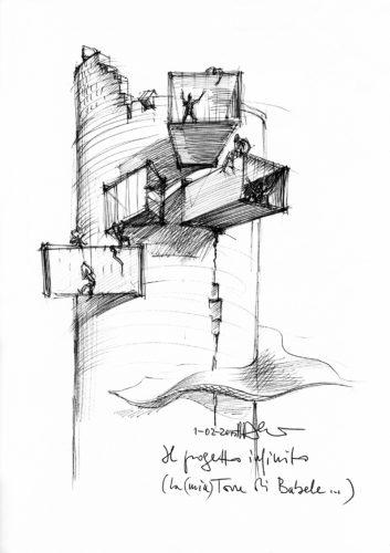 Schizzo La torre di Babele, 2015. Archivio Mario Bellini.