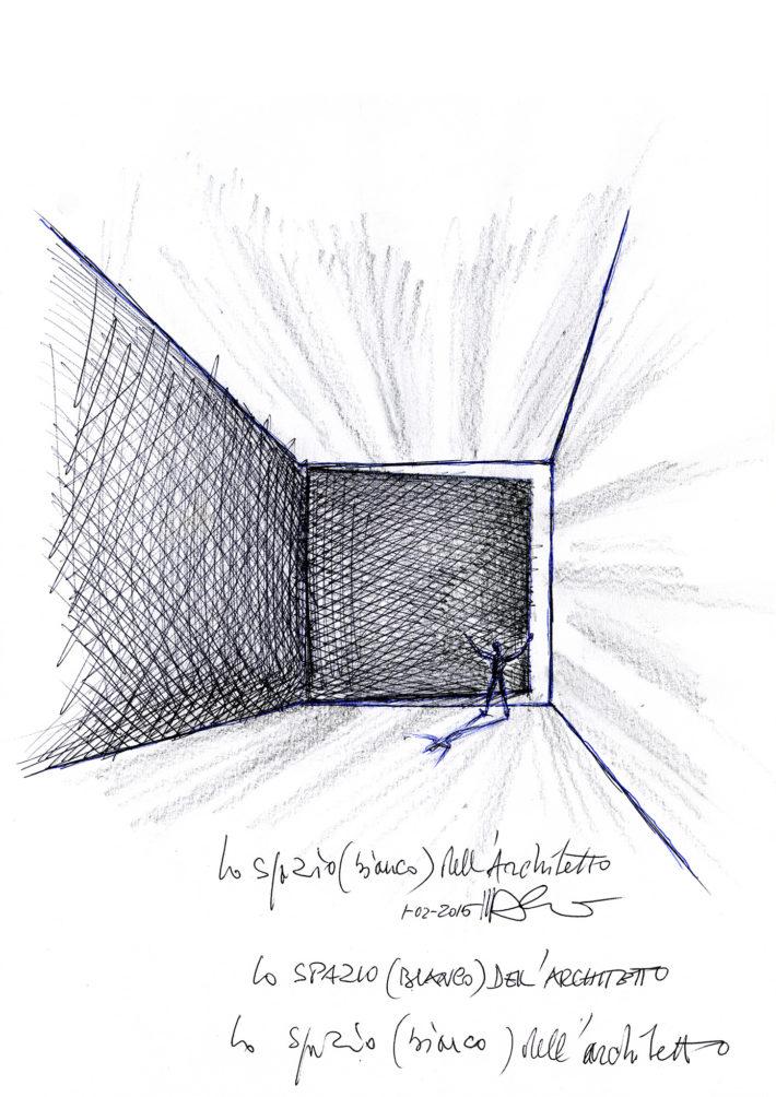 Schizzo Lo spazio bianco dell'architetto, 2015. Archivio Mario Bellini.