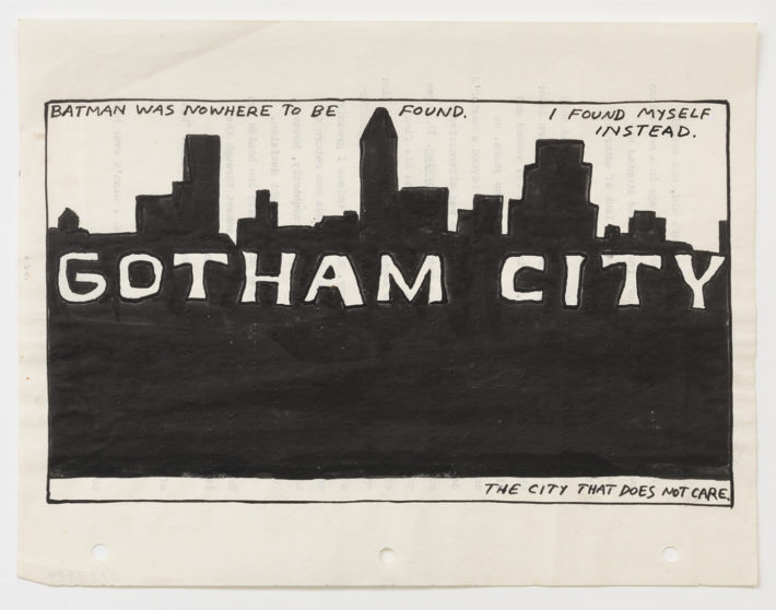 Raymond Pettibon, No Title (Batman was nowhere…), 1986. Courtesy: David Zwirner, New York.