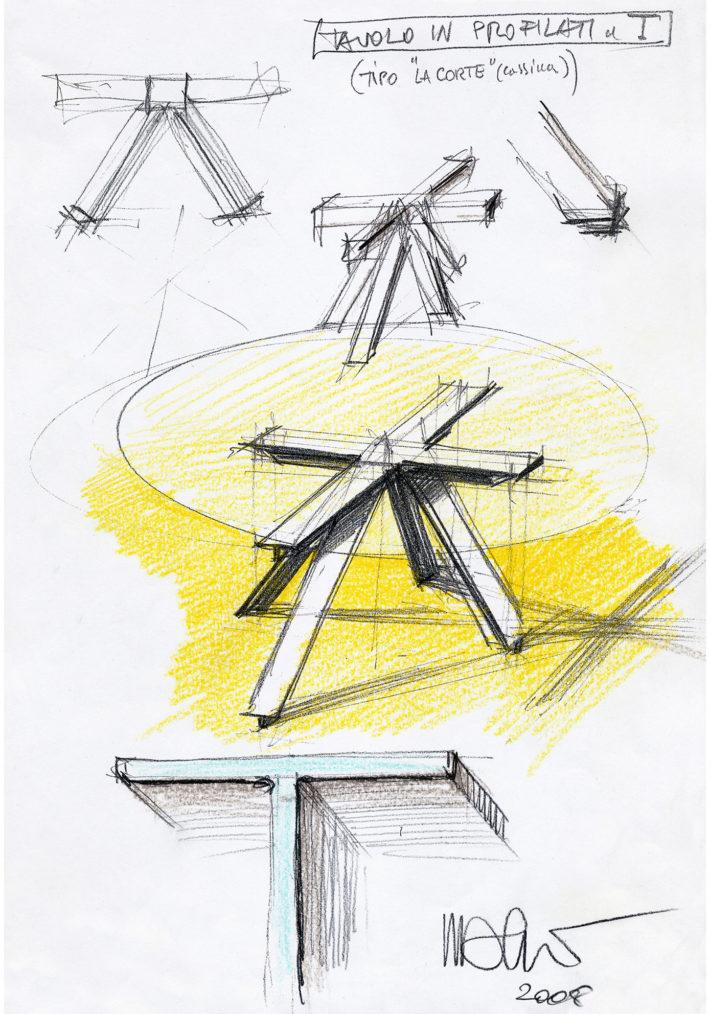 Schizzo di studio per tavolo profilato a T, 2008. Archivio Mario Bellini.