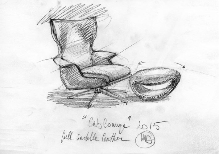 Cablounge, design di Mario Bellini, 2015. Schizzo. Archivio Mario Bellini.
