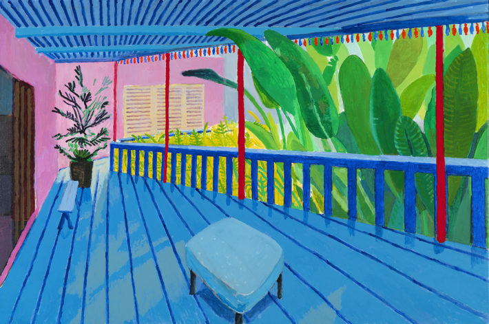 David Hockney, Garden with Blue Terrace