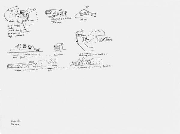 Cedric Price, Non-Plan, 1969. Schizzi di case vacanza, impianti industriali e stutture per l'istruzione.