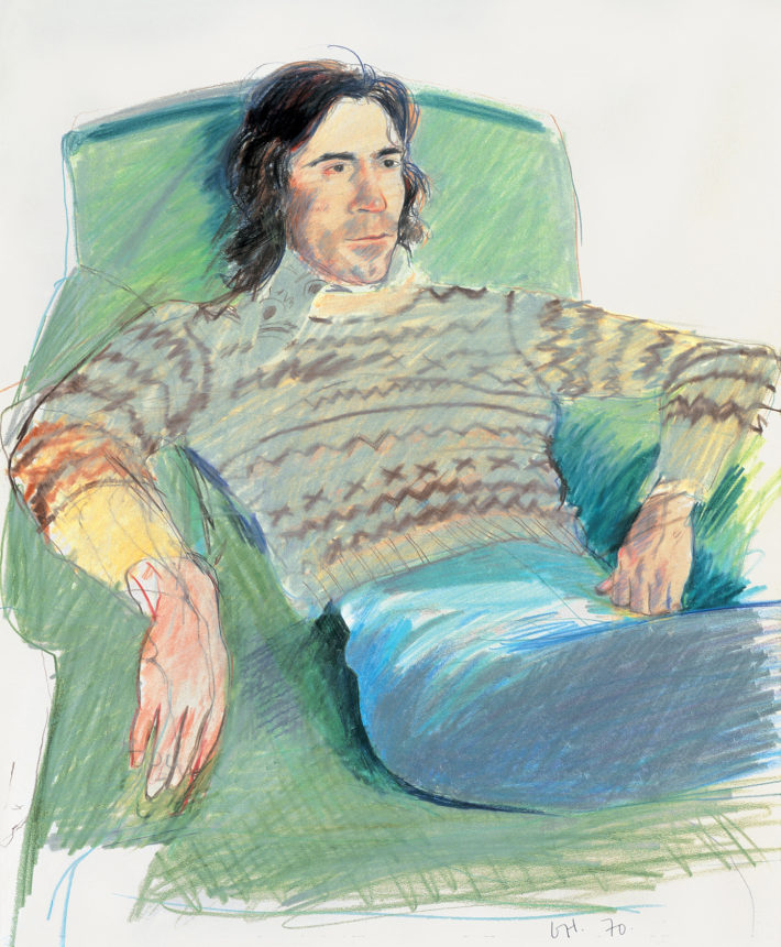 David Hockney, Ossie Wearing a Fairisle Sweater, 1970. Private collection, London. © David Hockney.