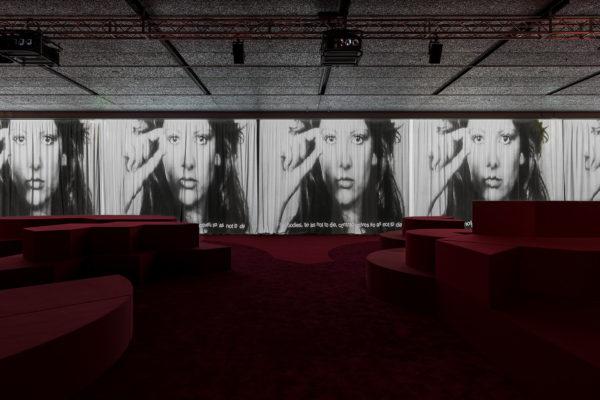 """Immagine della mostra """"TV 70: Francesco Vezzoli guarda la Rai"""" Fondazione Prada, Milano. Foto: Delfino Sisto Legnani e Marco Cappelletti."""
