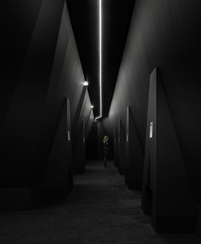 """Immagine della mostra """"TV 70: Francesco Vezzoli guarda la Rai"""" Fondazione Prada, Milano."""