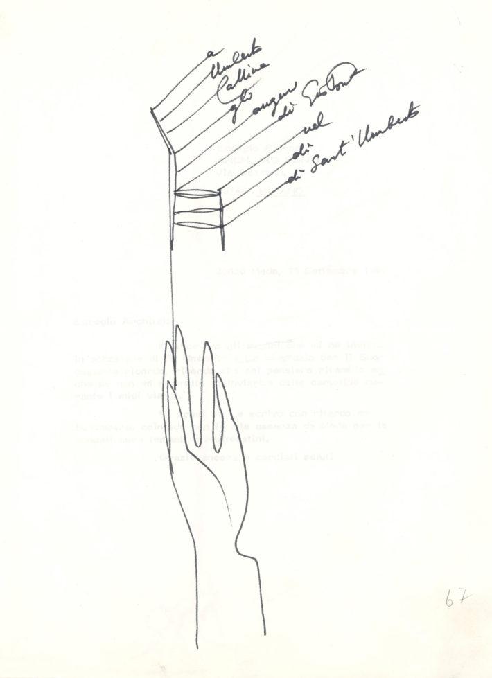 Questa lettera disegnata da Gio Ponti per Umberto Cassina in occasione di Sant'Umberto testimonia lo stretto rapporto di amicizia tra i due.