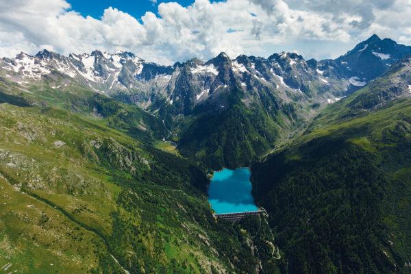 General view of the Scais Dam, part of the Vedello hydroelectric plant, in Valtellina, in July 2013. Photo: Andrea Siri / e-motion s.r.l. © Edison Spa.