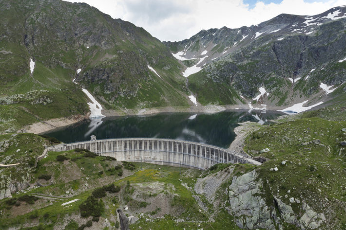 General view of the dam on Lake Publino and reservoir of the Publino plant, in Valtellina, in July 2013. Photo: Andrea Siri / e-motion s.r.l. © Edison Spa.