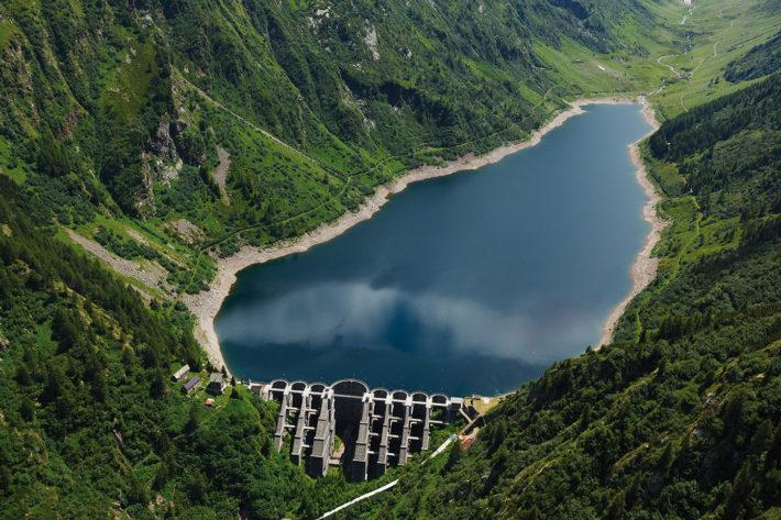 Aerial view of the Venina Dam, in Valtellina, in July 2013. Photo: Andrea Siri / e-motion s.r.l. © Edison Spa.