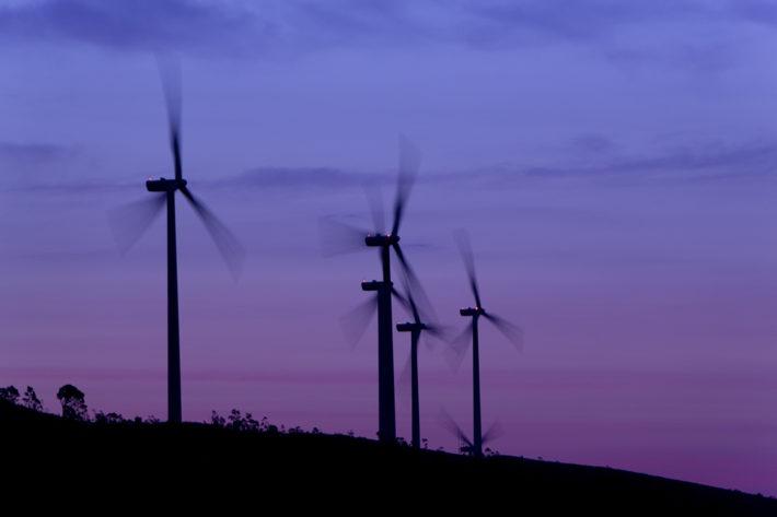 Wind turbines at sunset, at the San Francesco di Melissa-Strongoli Wind Farm (Crotone). Photo: Renato Cerisola. © Edison Spa.