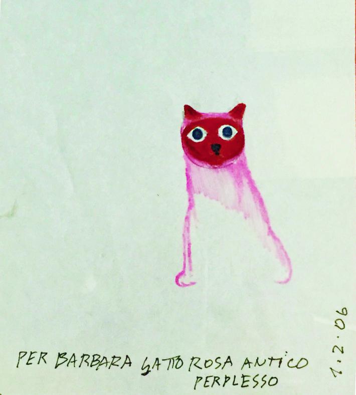 Ettore Sottsass, Gatto rosa antico perplesso, 2006.