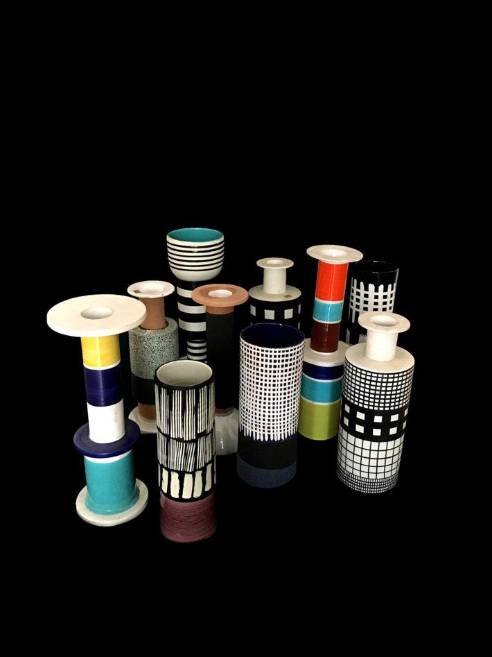 Ettore Sottsass, Rocchetti, Manifattura Cav. G. Bitossi & Figli per Galleria Il Sestante, 1957-1959.
