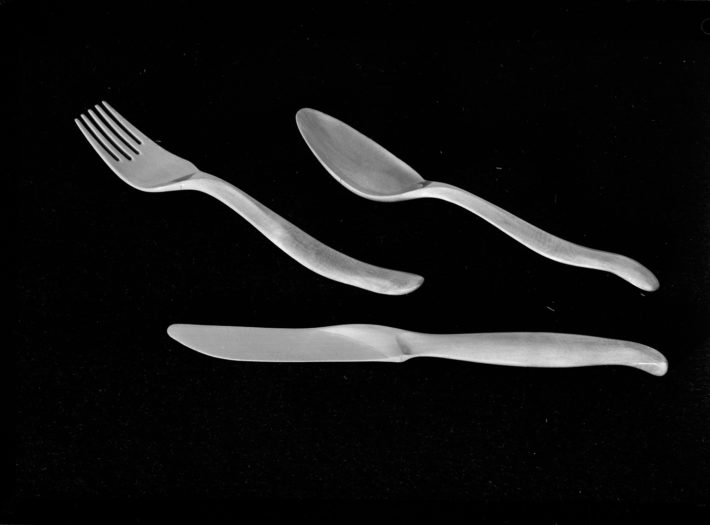 Carlo Mollino, wooden prototype of the flatware he designed for Reed & Burton, 1950. Fondo Carlo Mollino, Archives section, Biblioteca Roberto Gabetti, Turin Polytechnic.