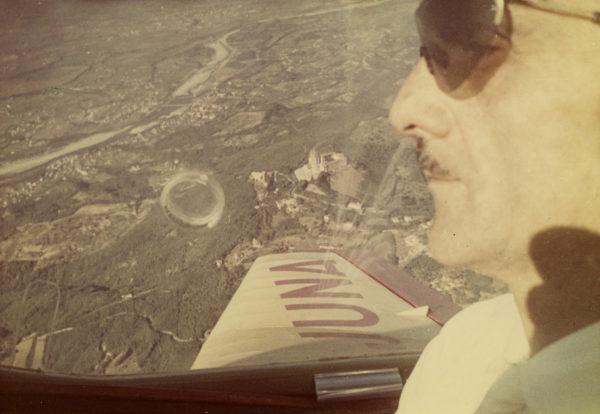 Unknown photographer, Carlo Mollino aboard a plane, c. 1950-60.