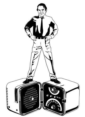 Radio Brionvega ts502, comunemente nota come Cubo, disegnata da Marco Zanuso e Richard Sapper nel 1963.