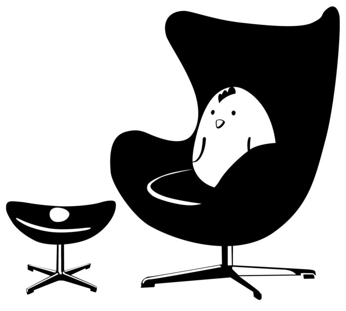 Egg chair designed by Arne Jacobsen for Fritz Hansen, 1958.