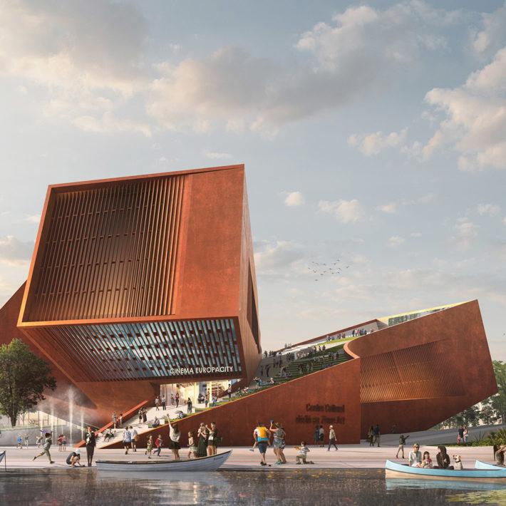 Centre Culturel Dédié Au 7è Art, EuropaCity, progetto di UNStudio. © UNStudio, Flying Architecture.