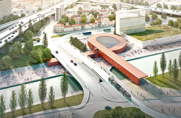 Gare Pont de Bondy (linea 15 Est), progetto di BIG e Silvio d'Ascia. © BIG, Silvio d'Ascia, Société du Grand Paris.