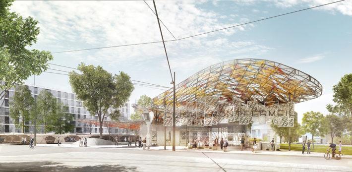 Gare Clichy-Montfermeil, Seine-Saint-Denis (linea 16), progetto di Miralles Tagliabue EMBT e Bordas+Peiro. © Miralles Tagliabue EMBT, Bordas+Peiro, Société du Grand Paris.
