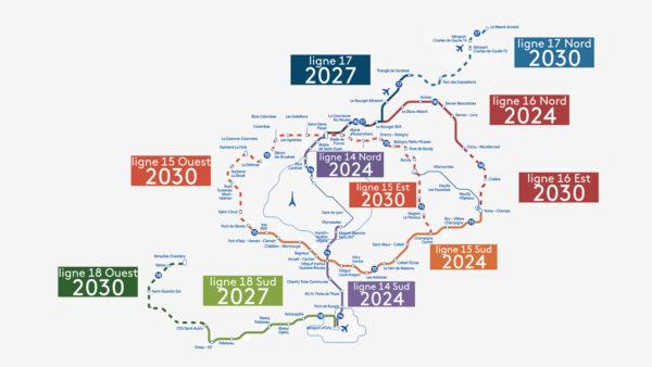 Grand Paris Express, mappa della futura rete metropolitana. © Grégoire Courtois, France 3 Paris.