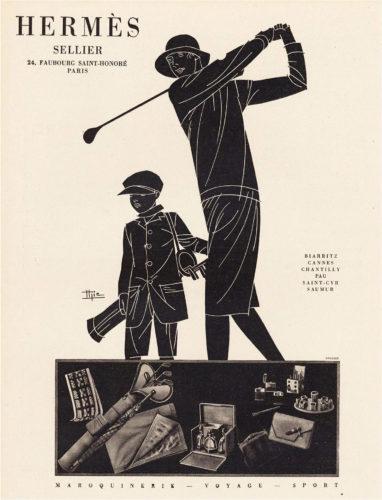 Hermès advert: Maroquinerie-Voyage-Sport, woman playing golf, illustration byMarcel-Jacques Hemjic. Original print, 1928.