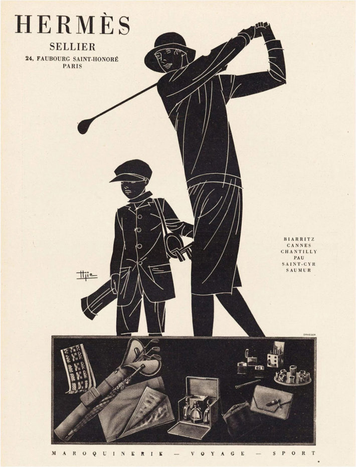 Hermès advert: Maroquinerie-Voyage-Sport, woman playing golf, illustration by Marcel-Jacques Hemjic. Original print, 1928.