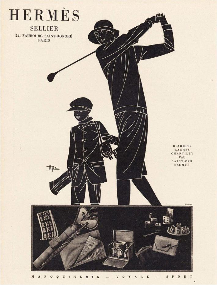 Pubblicità Hermès, Maroquinerie-Voyage-Sport, donna che gioca a golf, illustrazione di Marcel-Jacques Hemjic, stampa originale, 1928.