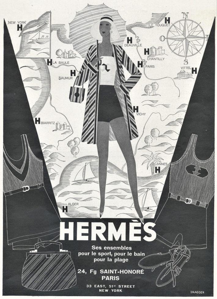 Hermès advert: Ses ensembles pour le sport, pour le bain, pour la plage. Original print, 1930.