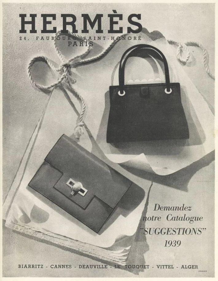 Hermès advert: Suggestions, purses/pochettes/handbags. Original print, 1939.