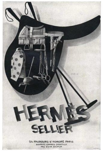 Pubblicità Hermès, abbigliamento e accessori per gli sport equestri, stampa originale, 1928.