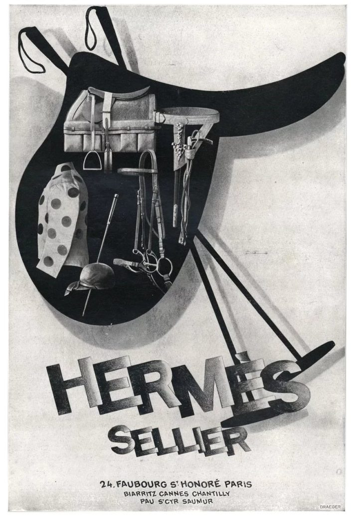 Hermès advert: clothing and accessories for equestrian sports. Original print, 1928.