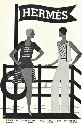 Pubblicità Hermès, sportswear e abbigliamento da mare per la donna, stampa originale, 1931.