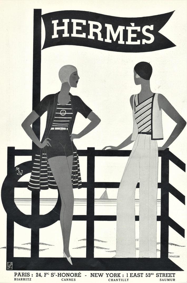 Hermès advert: women's sportswear and beachwear. Original print, 1931.