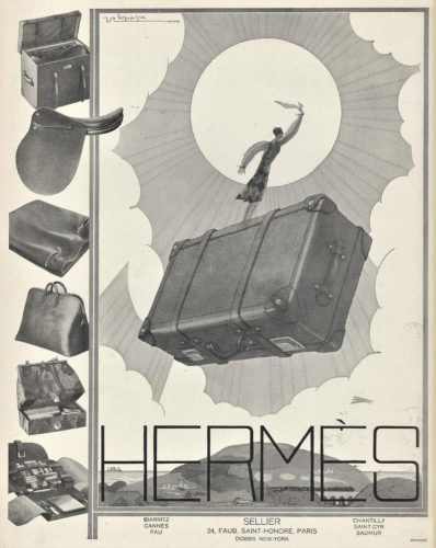 Hermès advert: luggage and travel accessories, illustration by Georges Lepape. Original print, 1926.