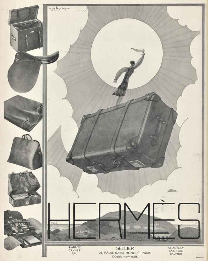 Pubblicità Hermès, valigeria e accessori da viaggio, illustrazione di Georges Lepape, stampa originale, 1926.